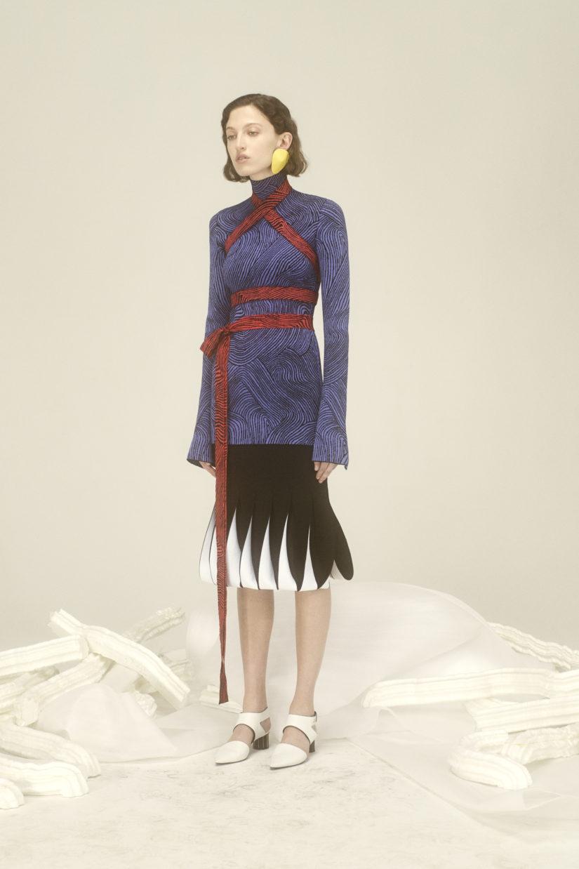 Bicolor Intarsia Loop Skirt