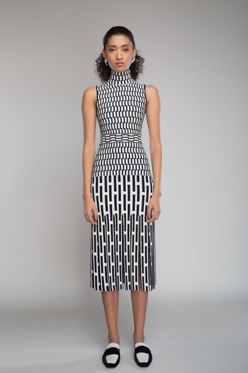Broken Basketweave Jacquard Mockneck Dress