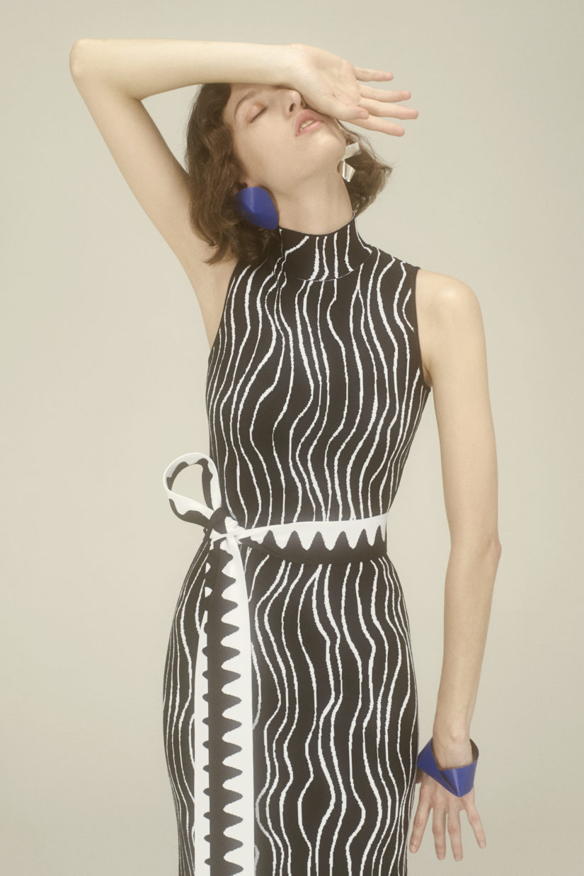 Ribbon Jacquard Dress with Intarsia Loop Hem