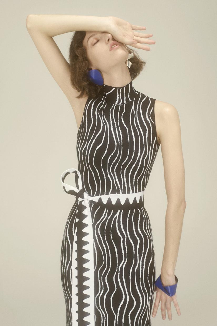 Ribbon Jacquard Dress with Intarsia Loop Hem
